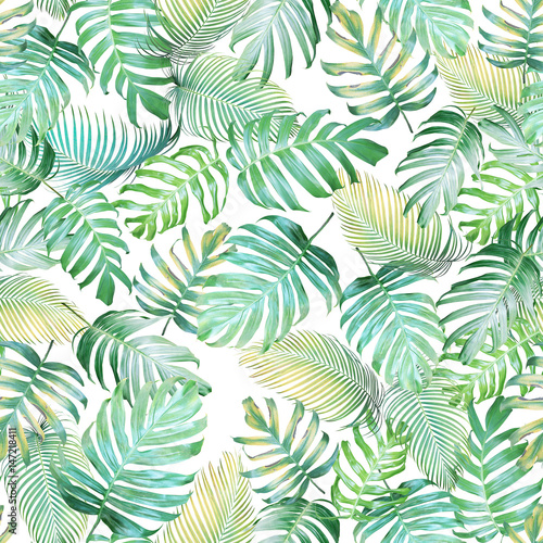 Fototapeta Tropical leaves seamless pattern of Monstera philodendron and palm leaves in light green-yellow color tone, tropical background.