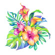 watercolor floral illustration, exotic nature, tropical flowers bouquet, orchid, hibiscus, cala lily, green palm leaves, isolated on white background