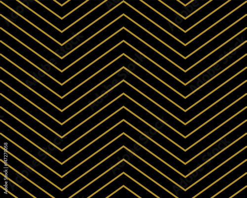 Chevron pattern wallpaper design set in gold and black. Seamless vector texture paper background.
