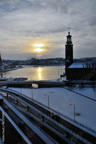 trafik,  vy från norrmalm, stockholm sverige