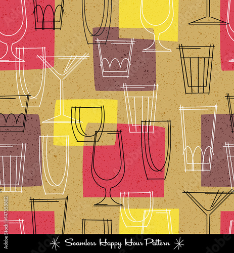 retro seamless pattern of various outlined cocktail glasses. vector illustration.