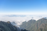 Beautiful mountain ridge in the clouds - Fansipan Mountain in Vietnam