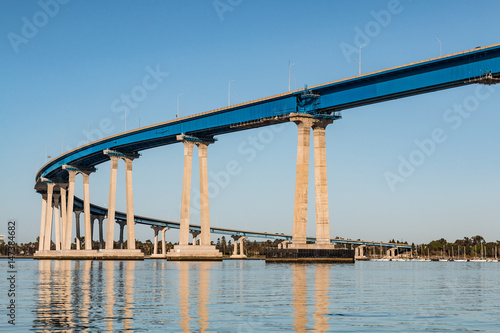 The concrete and steel girders of the San Diego-Coronado Bay bridge as it spans San Diego bay Poster