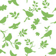 Seamless pattern with bird and twig silhouettes. Spring background with green birds. Vector illustration