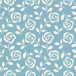 Seamless pattern with abstract roses on blue background. Vector illustration. Wallpaper with cute flowers