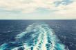 Ocean behind cruise ship