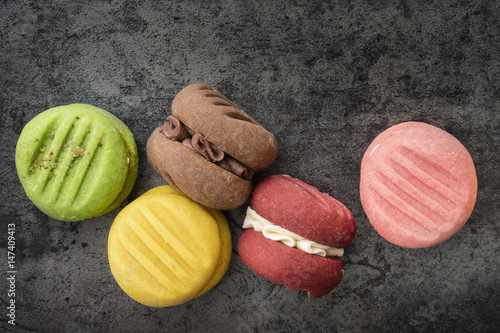 Colorful Cookies Top View on Slate Poster