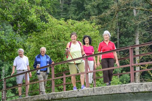 gutgelaunte Senioren-Gruppe überquert beim Wandern eine alte Brücke Poster