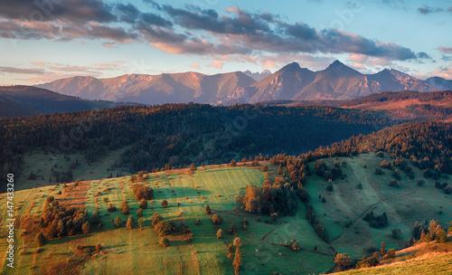 Majestic sunset in mountains landscape, Carpathian, Slovakia