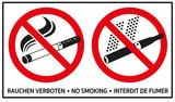 Kombi-Hinweis, Piktogramme: rauchen verboten, no smoking, interdit de fumer - 147440251