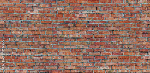 Seamless pattern old red brick wall texture - 147463004