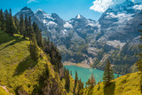 Beautiful natural scenery with the lake Oeschinensee in the Swiss Alps, near Adelboden, Switzerland, Europe