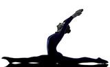 woman exercising Hanumanasana monkey pose yoga silhouette shadow white background