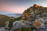 Castle on Leros island in Greece at sunset.