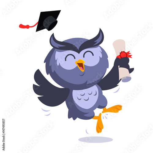 Foto op Aluminium Uilen cartoon Nice owl, he is celebrating his graduation