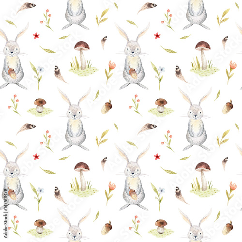 Cute baby rabbit animal seamless pattern for kindergarten, nursery isolated illustration for children clothing. Watercolor Hand drawn boho image Perfect for phone cases design, nursery poster. - 147501478