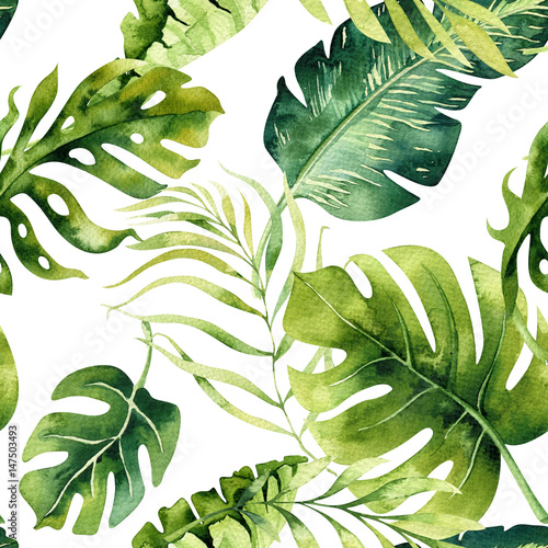 Seamless watercolor pattern of tropical leaves, dense jungle. Hand painted. Texture with tropic summertime  may be used as background, wrapping paper, textile or wallpaper design. - 147503493
