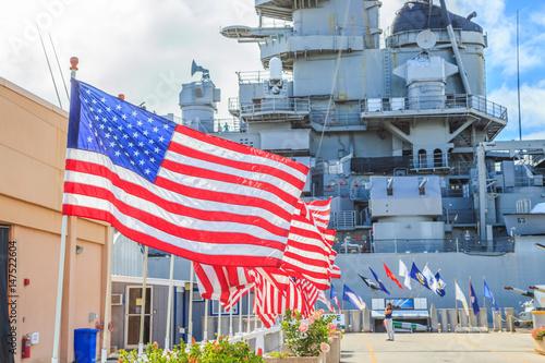 American flags at Missouri Battleship Memorial in Pearl Harbor Honolulu Hawaii, Oahu island of United States Poster