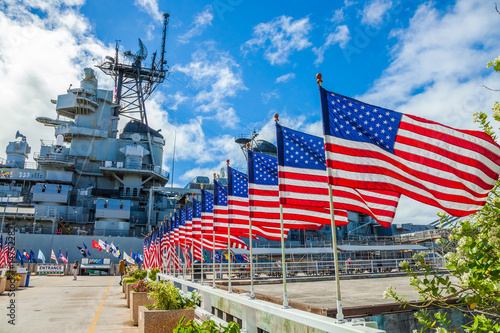 American flags in line at Missouri Warship Memorial in Pearl Harbor Honolulu Hawaii, Oahu island of United States Poster