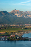 Versilia Coast with the Magra river, the Ligurian sea, the Apennines and the Apuan Alps. Tuscany, Liguria, Italy