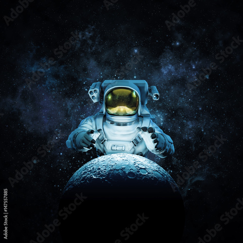 Reach for the moon / 3D illustration of astronaut reaching for glowing moon