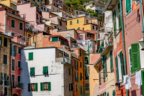 Aluminium Liguria View of the colorful city of Riomaggiore in the gulf of the five lands in Italy