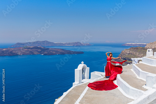Poster Woman in long red dress
