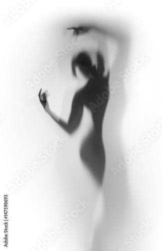 Diffuse silhouette of a beautiful dancer woman behind a curtain Poster