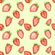 Watercolor seamless pattern with strawberry slices. Berries repeating background. - 147623652