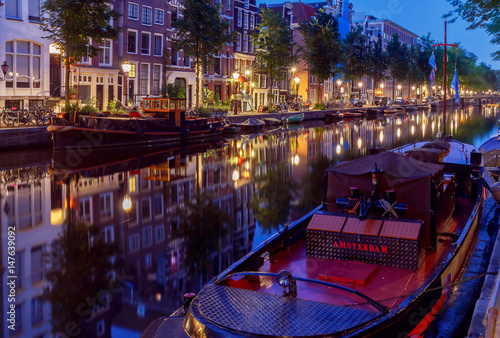 Poster Amsterdam. City Canal at dawn.