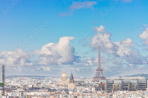 Paris city roofs with Eiffel Tower from above, Paris France Poster