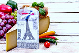 french food ingredients and Eiffel Tower - 147691695