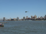 Helicopter flying over New York