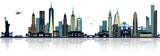 New York Skyline blau mit Lichtern - 147721891