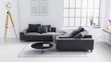 White modern living room, Scandinavian interior design