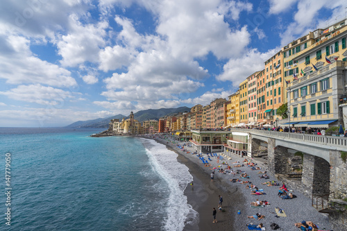 Typical colorful buildings overlooking the marina and the beach in Camogli, Ligu Poster