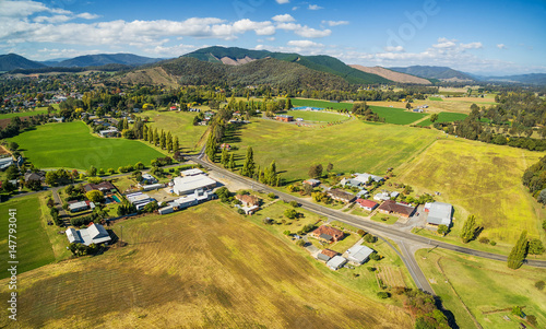 Tuinposter Honing Austrtalian countryside aerial landscape near Myrtleford, Victoria, Australia