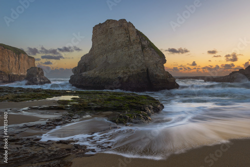 Staande foto Scandinavië Sunset evening at Shark Fin Cove Beach California
