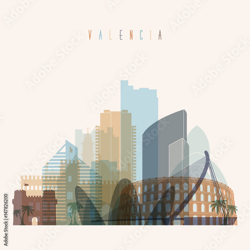 Valencia skyline detailed silhouette. Transparent style.