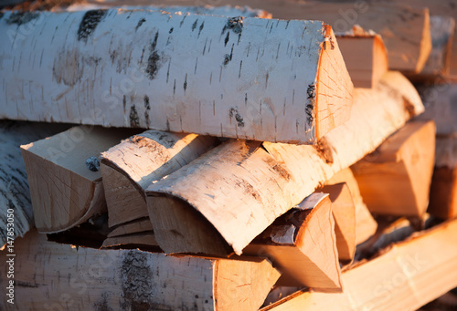 Tuinposter Brandhout textuur firewood rural major plan to sell flushing