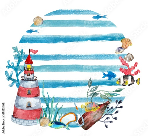 Watercolor nautical background - 147853403