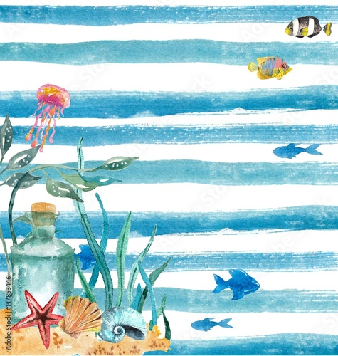 Watercolor nautical background - 147853446