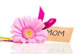 gerbera till mamma på mors dag med text speglas i vitt bord