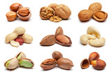 Collection of various nuts on white. - 147917808