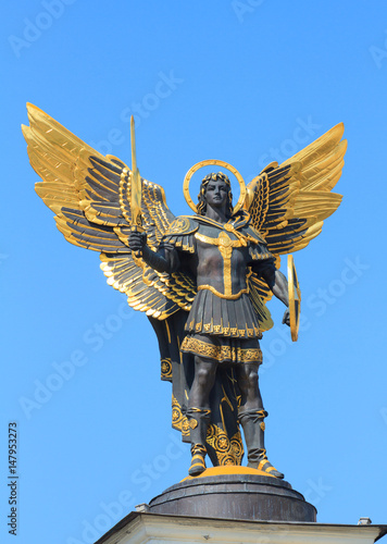 Poster Kiev Golden statue of Archangel Michael in Kiev
