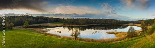 Foto Murales Panorama view of the Patelnia lake near Kruklanki in Masuria, Poland