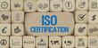 ISO Certification / Würfel mit Symbole