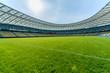 Leinwanddruck Bild - Panoramic view of soccer field stadium and stadium seats