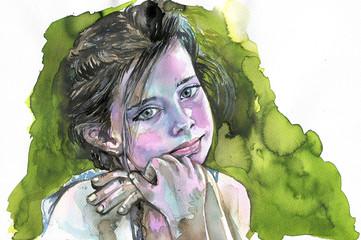 Watercolor portrait of a girl © bruniewska
