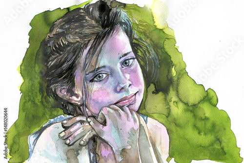 Watercolor portrait of a girl